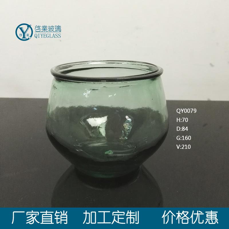 绿色玻璃烛炬罐 烛台 南瓜烛台 彩绘烛炬罐 喷涂玻璃罐 翠绿玻璃烛台